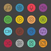 Basic Icon Set 5 Color Circle Series Vector EPS File.