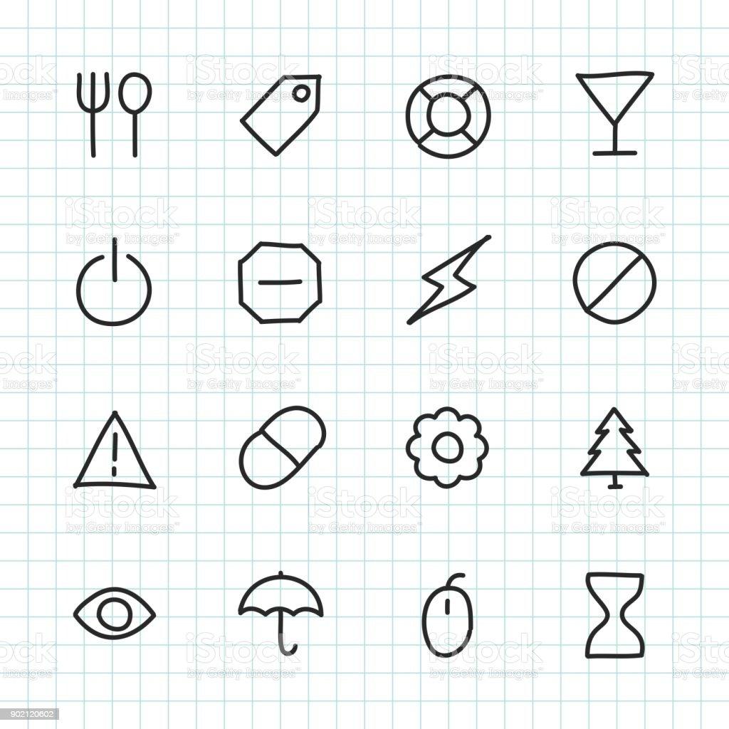 Basic Icon Set 7 - Hand Drawn Series royalty-free stock vector art