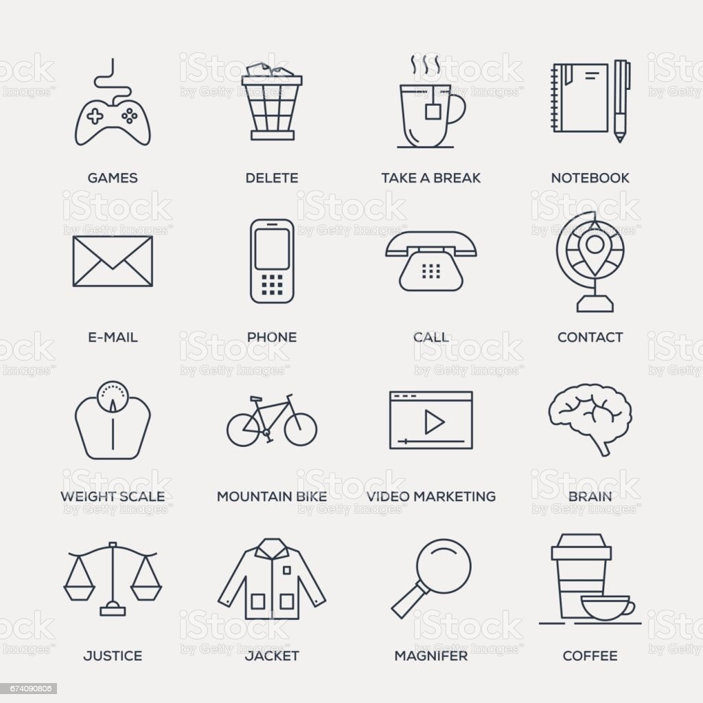 Basic Icons - Line Series vector art illustration