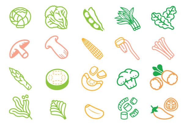 タイバーベキューアイコンの基本食材野菜(セット1)。焼き肉と一緒に食べるおかず。 - 枝豆点のイラスト素材/クリップアート素材/マンガ素材/アイコン素材
