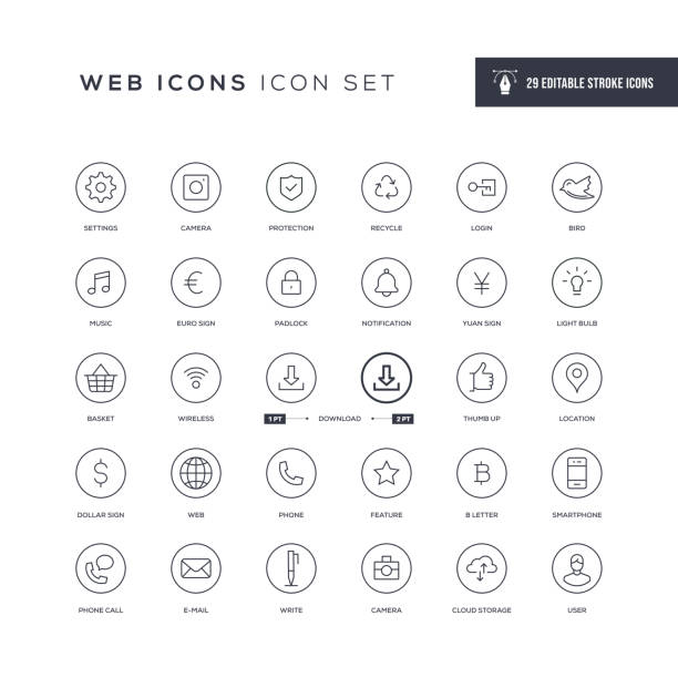 Basic Interface Editable Stroke Line Icons 29 Basic Interface Icons - Editable Stroke - Easy to edit and customize - You can easily customize the stroke with yuan symbol stock illustrations