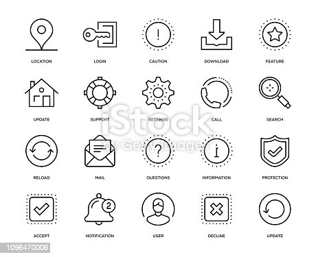 Basic Interface Icon Set - Thin Line Series