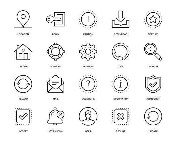 ilustrações, clipart, desenhos animados e ícones de conjunto de ícones de interface básica - user line icon