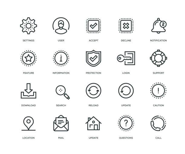 bildbanksillustrationer, clip art samt tecknat material och ikoner med grundläggande gränssnittet ikoner - line serien - logga in