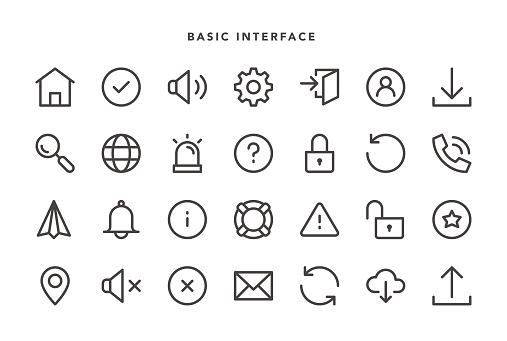 Basic Interface Icons - Vector EPS 10 File, Pixel Perfect 28 Icons.