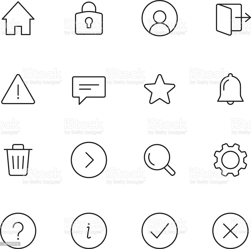 Basic Interface Icons vector art illustration
