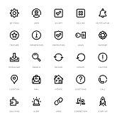Basic Interface Line Icon Set