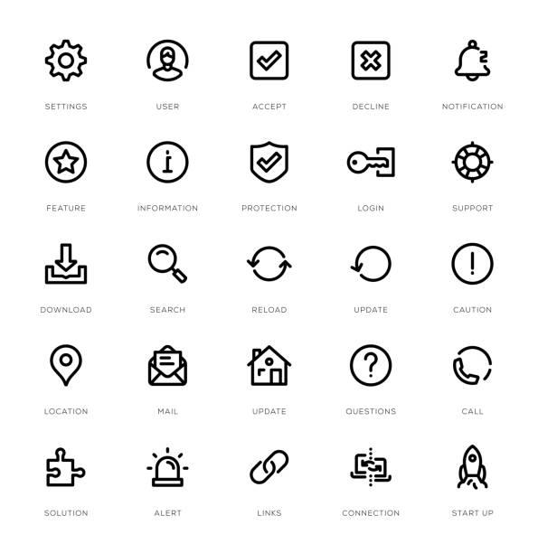 bildbanksillustrationer, clip art samt tecknat material och ikoner med grundläggande gränssnitt linje ikonuppsättning - logga in
