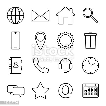 Basic interface line icons for web and mobile app isolated on white background