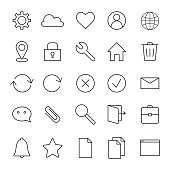 istock Basic interface line icons for web and mobile app. 615890656