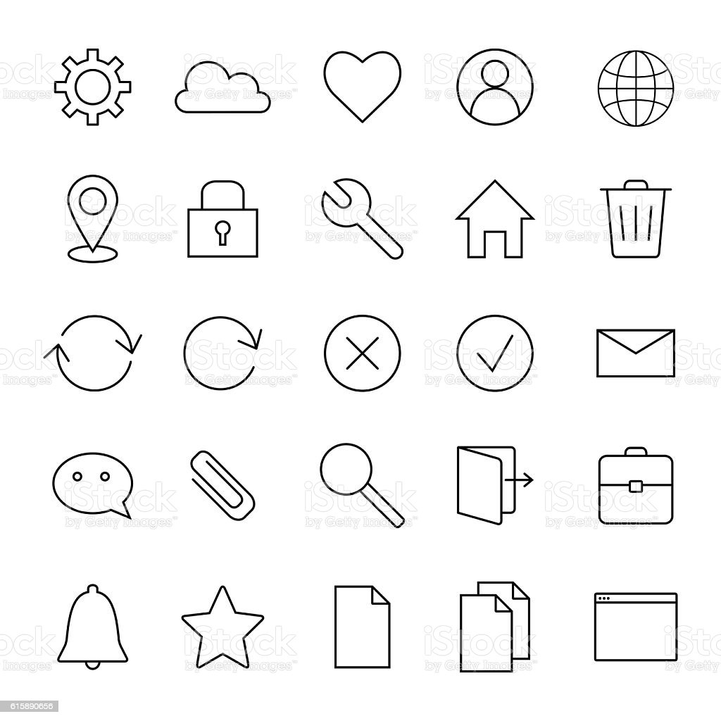 Basic interface line icons for web and mobile app. vector art illustration