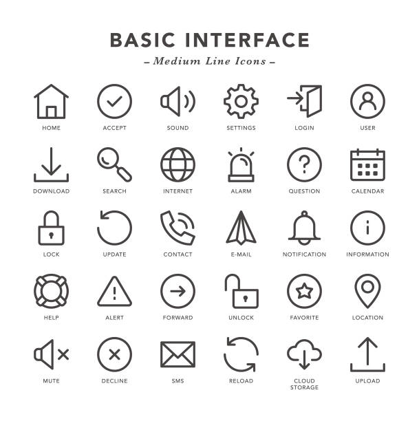 Basic Interface - Medium Line Icons Basic Interface - Medium Line Icons - Vector EPS 10 File, Pixel Perfect 30 Icons. software update stock illustrations