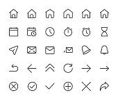 Basic interface small line icons. Home,clock and arrows, pixel perfect icons with editable icons. 16*16 px. eps 10