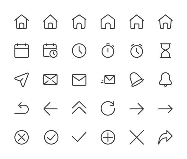 stockillustraties, clipart, cartoons en iconen met de pictogrammen van de kleine lijn van de basic-interface. huis, klok en pijlen, pixel perfect iconen met bewerkbare pictogrammen. 16 * 16 px - klein
