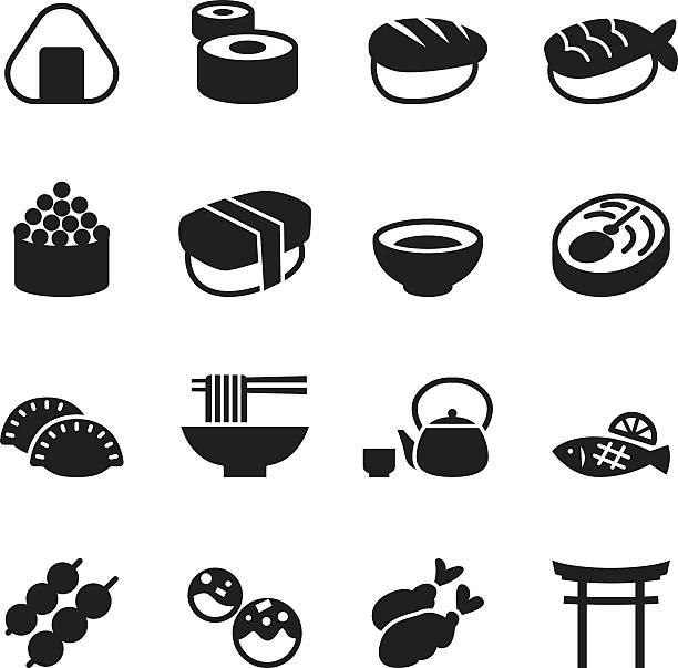 basic japanese food icons set - japanese food stock illustrations