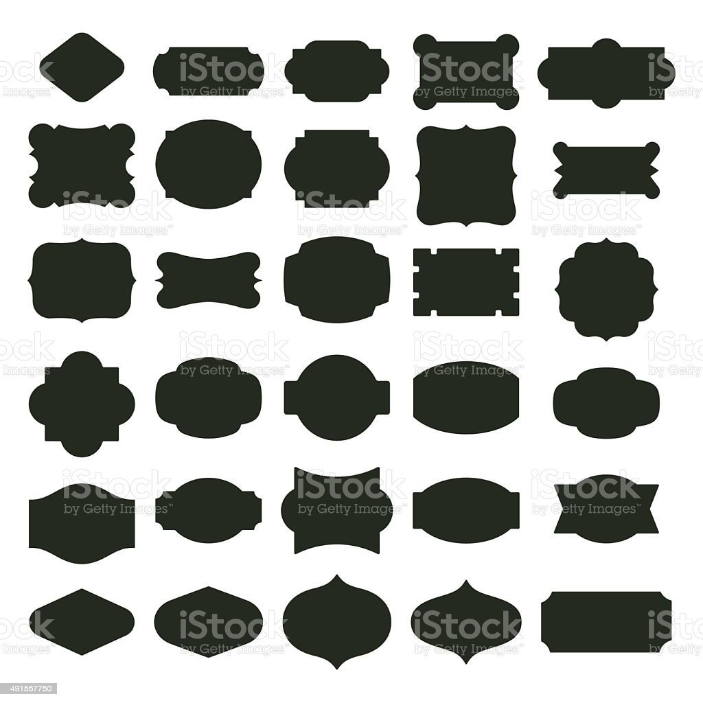 Basic labels set vector art illustration