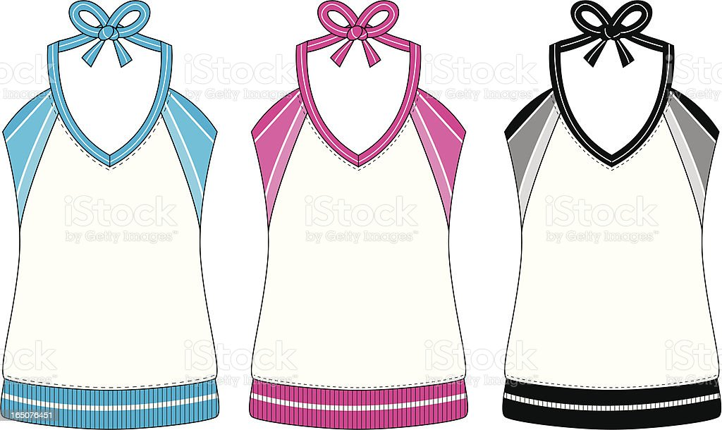 Basic Ladies Sports Vest with Stripe Detail royalty-free stock vector art