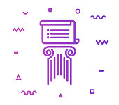 Basic law outline style icon design with decorations and gradient color. Line vector icon illustration for modern infographics, mobile designs and web banners.