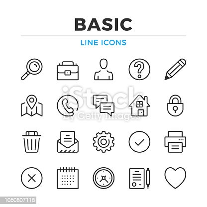 Basic line icons set. Modern outline elements, graphic design concepts. Stroke, linear style. Simple symbols collection. Vector line icons