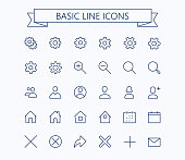 Basic line mini icons.Editable stroke. 24x24 grid. Pixel Perfect.Delete,search,home,settings,plus,contacts and message