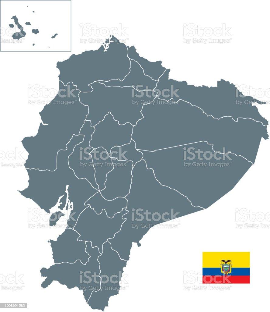 Mapa básico do Equador, incluindo linhas de delimitação - ilustração de arte em vetor