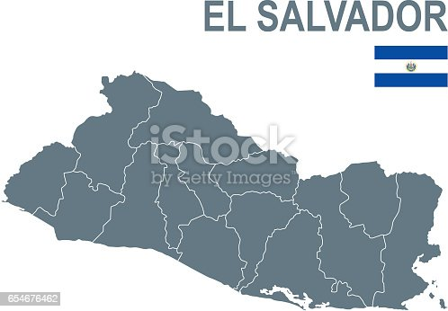 Detailed map of El Salvador with provinces and flag.