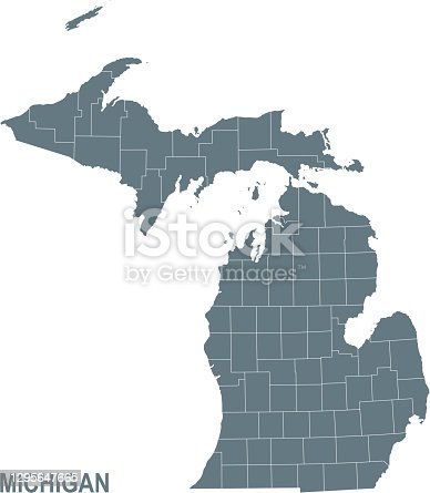 istock Basic map of Michigan including boundary lines 1295647665