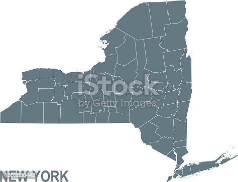 istock Basic map of New York including boundary lines 1302836443