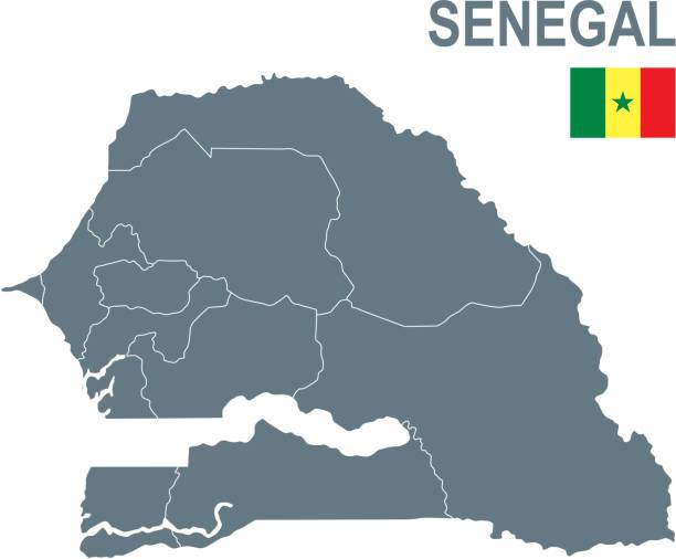 basic map of senegal including boundary lines - senegal stock illustrations