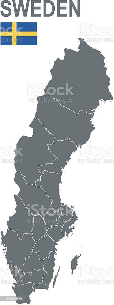 Basic map of Sweden including boundary lines vector art illustration