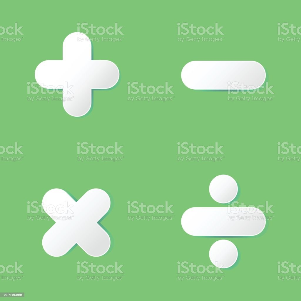 Basic Math Symbol In Paper Cut Design On Green Background Stock