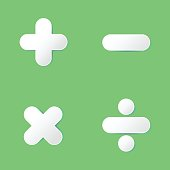 Basic math symbol (Plus, Minus, Multiply, Divide) in paper cut design on green background