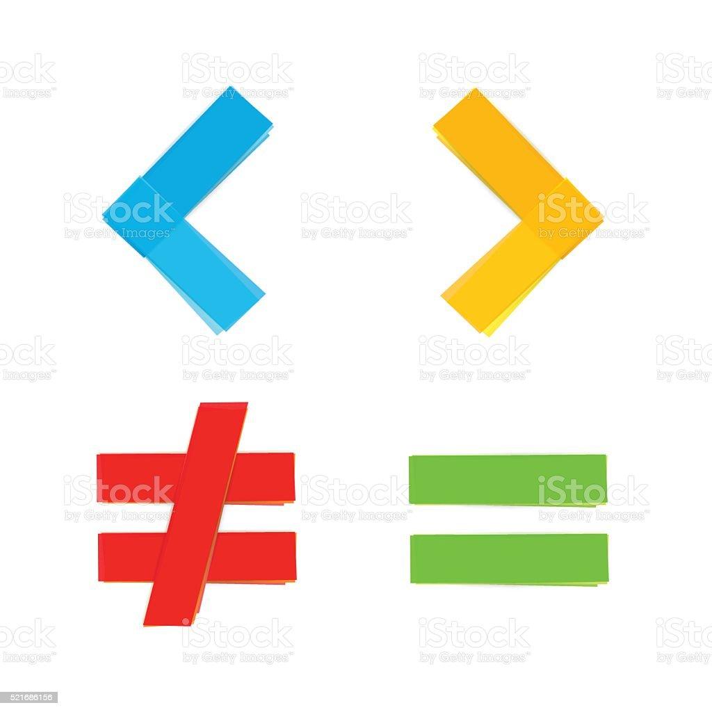 Basic Mathematical Symbols Equal Less Greater Stock Vector Art
