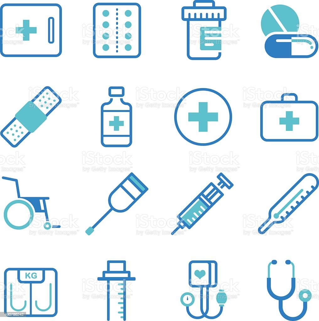 Basic medical equipment icons set vector art illustration