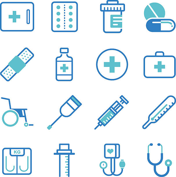 basic medical equipment icons set - medical equipment stock illustrations, clip art, cartoons, & icons