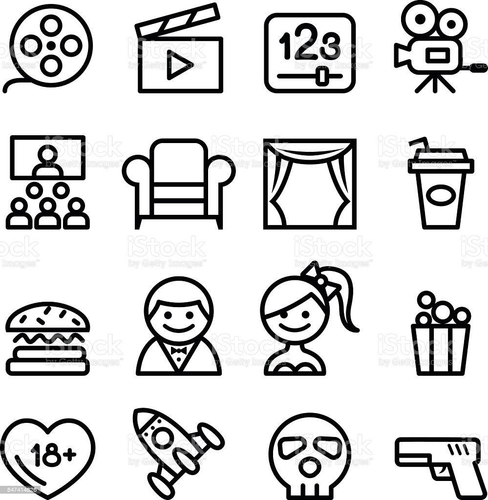 Basic Movies icons set Line icon Vector illustration – Vektorgrafik