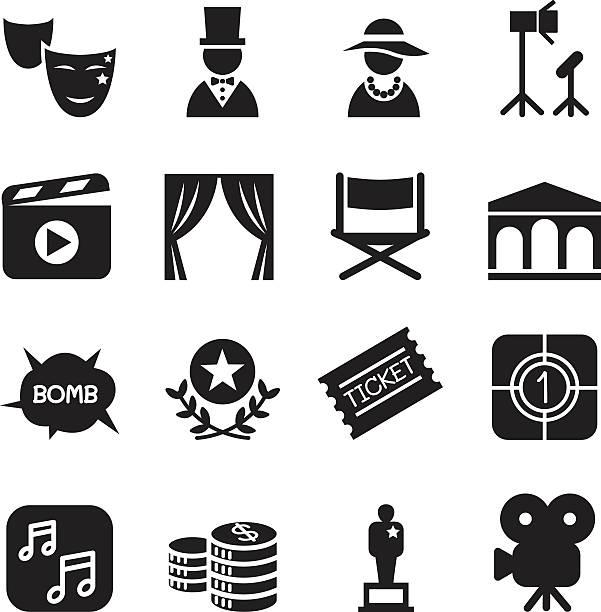 stockillustraties, clipart, cartoons en iconen met basic movies icons set vector illustration - photography curtains