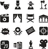 Basic Movies icons set Vector illustration