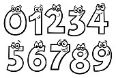 Black and White Educational Cartoon Illustrations of Basic Numbers Characters Set Coloring Book