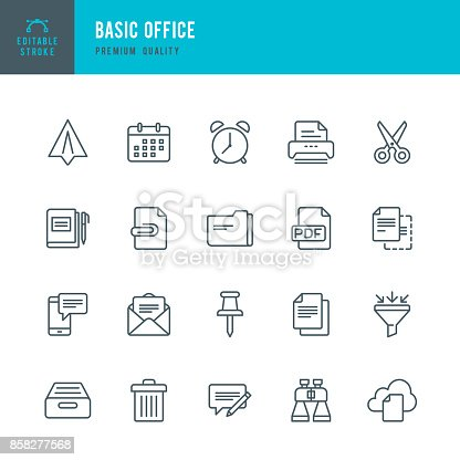 Set of Basic Office thin line vector icons.