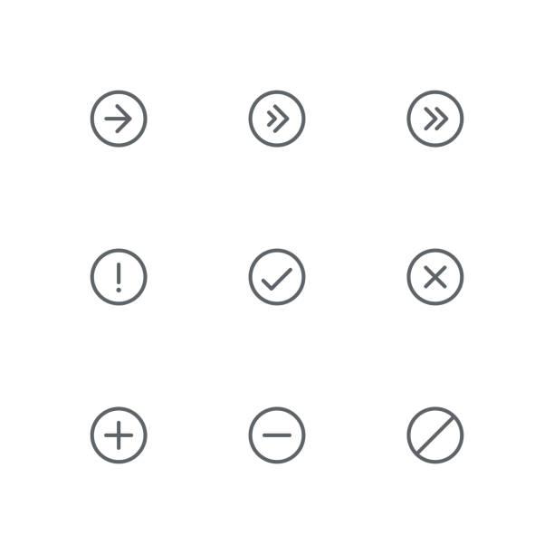 illustrazioni stock, clip art, cartoni animati e icone di tendenza di basic outline icon set 07 - segno meno
