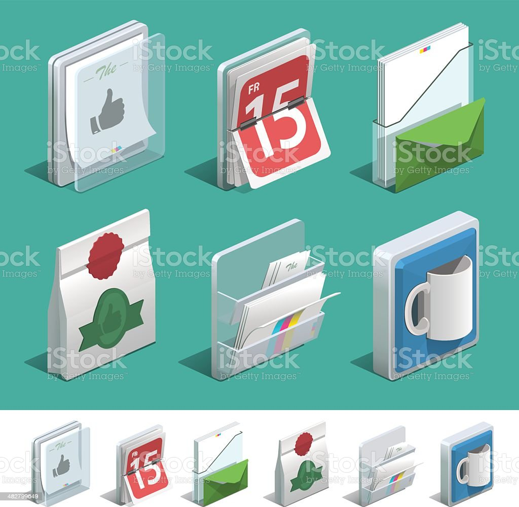 Basic printing icon set royalty-free stock vector art