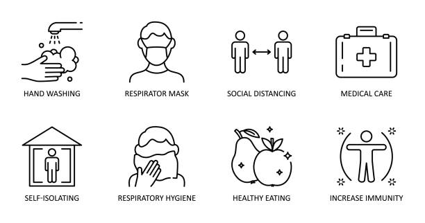 Basic protective measures against the new coronavirus. Vector set of icons. Editable Stroke. Hand washing, respiratory mask, social distance, self-isolation, healthy eating, increased immunity. Basic protective measures against the new coronavirus. Vector set of icons. Editable Stroke. Hand washing, respiratory mask, social distance, self-isolation, healthy eating, increased immunity covid mask stock illustrations