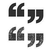 Basic Quote mark icon shape. Dialog emblem grunge symbol sign. Vector illustration image. Isolated on white background.