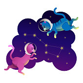 Space cat astronaut walking on the stars. Funny cat, constellation big bear, purple background. Flat style. Space cat in universe funny kids print, t-shirt design, card design