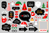 Christmas photo booth props. Merry christmas party . Red and green cards and speech bubble with funny quotes for christmas. Vector photobooth set: Santa and elf hat, beard, deer, snowman, candy, mustache, lips.