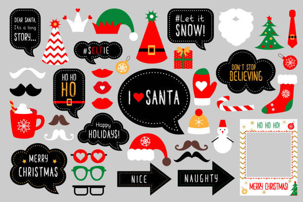 Basic RGB Christmas photo booth props. Merry christmas party . Red and green cards and speech bubble with funny quotes for christmas. Vector photobooth set: Santa and elf hat, beard, deer, snowman, candy, mustache, lips. candy borders stock illustrations