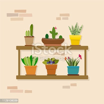 Vector illustration.Set of indoor plants on the shelves. Various flowers, plants in pots on brick background.Great for flower shop banner, poster, prints. Set of elements for design a flat, office,house interior.
