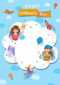Happy Children's Day with boy and girl playing on cloud with vehicle on sky background.