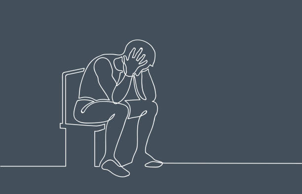 Basic RGB Sad, unhappy man sitting and holding his head. Depression concept. Continuous line drawing. Illustration on gloomy gray background one man only stock illustrations